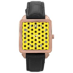 Yellow Fractal In Kaleidoscope Rose Gold Leather Watch