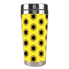 Yellow Fractal In Kaleidoscope Stainless Steel Travel Tumblers