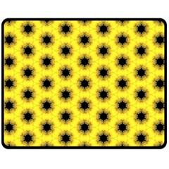 Yellow Fractal In Kaleidoscope Double Sided Fleece Blanket (medium)