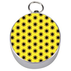 Yellow Fractal In Kaleidoscope Silver Compasses