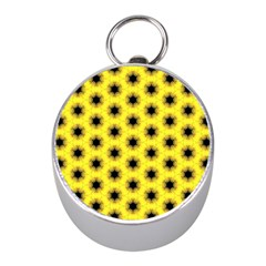 Yellow Fractal In Kaleidoscope Mini Silver Compasses