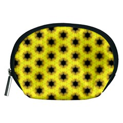 Yellow Fractal In Kaleidoscope Accessory Pouches (medium)