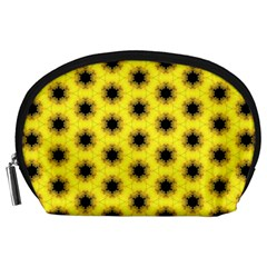 Yellow Fractal In Kaleidoscope Accessory Pouches (Large)