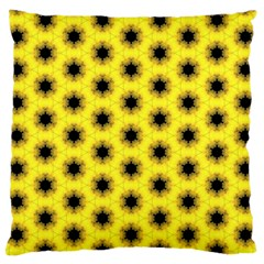 Yellow Fractal In Kaleidoscope Large Flano Cushion Case (one Side)