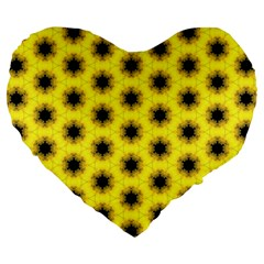 Yellow Fractal In Kaleidoscope Large 19  Premium Flano Heart Shape Cushions