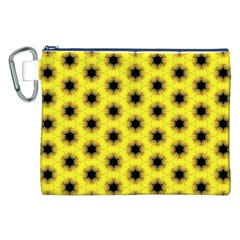 Yellow Fractal In Kaleidoscope Canvas Cosmetic Bag (xxl)
