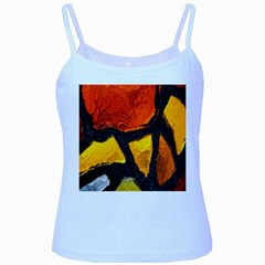 Colorful Glass Mosaic Art And Abstract Wall Background Baby Blue Spaghetti Tank