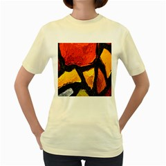 Colorful Glass Mosaic Art And Abstract Wall Background Women s Yellow T Shirt
