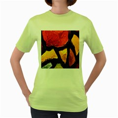 Colorful Glass Mosaic Art And Abstract Wall Background Women s Green T Shirt