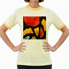 Colorful Glass Mosaic Art And Abstract Wall Background Women s Fitted Ringer T-Shirts