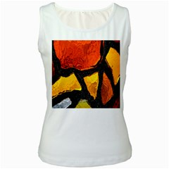Colorful Glass Mosaic Art And Abstract Wall Background Women s White Tank Top