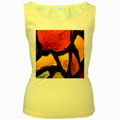 Colorful Glass Mosaic Art And Abstract Wall Background Women s Yellow Tank Top