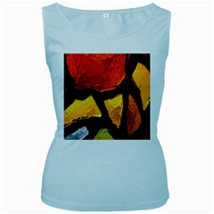 Colorful Glass Mosaic Art And Abstract Wall Background Women s Baby Blue Tank Top