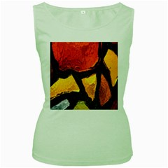 Colorful Glass Mosaic Art And Abstract Wall Background Women s Green Tank Top