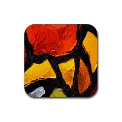 Colorful Glass Mosaic Art And Abstract Wall Background Rubber Coaster (square)