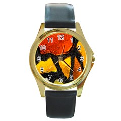 Colorful Glass Mosaic Art And Abstract Wall Background Round Gold Metal Watch
