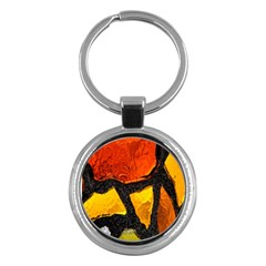 Colorful Glass Mosaic Art And Abstract Wall Background Key Chains (round)