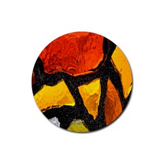 Colorful Glass Mosaic Art And Abstract Wall Background Rubber Coaster (round)