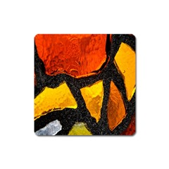 Colorful Glass Mosaic Art And Abstract Wall Background Square Magnet