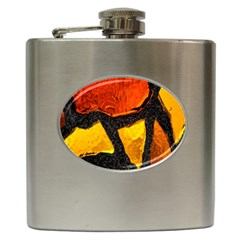 Colorful Glass Mosaic Art And Abstract Wall Background Hip Flask (6 Oz)