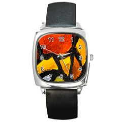 Colorful Glass Mosaic Art And Abstract Wall Background Square Metal Watch