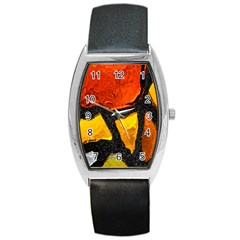 Colorful Glass Mosaic Art And Abstract Wall Background Barrel Style Metal Watch