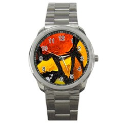 Colorful Glass Mosaic Art And Abstract Wall Background Sport Metal Watch