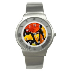 Colorful Glass Mosaic Art And Abstract Wall Background Stainless Steel Watch