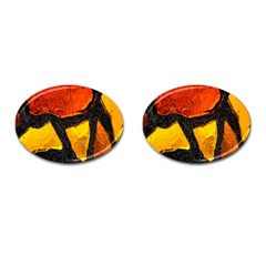 Colorful Glass Mosaic Art And Abstract Wall Background Cufflinks (oval)