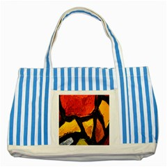 Colorful Glass Mosaic Art And Abstract Wall Background Striped Blue Tote Bag