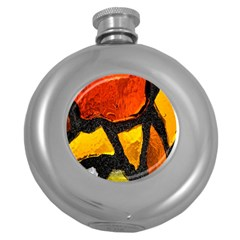 Colorful Glass Mosaic Art And Abstract Wall Background Round Hip Flask (5 Oz)