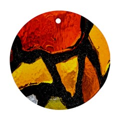Colorful Glass Mosaic Art And Abstract Wall Background Round Ornament (two Sides)