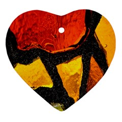 Colorful Glass Mosaic Art And Abstract Wall Background Heart Ornament (two Sides)