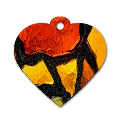 Colorful Glass Mosaic Art And Abstract Wall Background Dog Tag Heart (One Side)