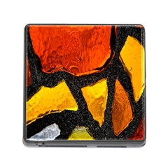 Colorful Glass Mosaic Art And Abstract Wall Background Memory Card Reader (square)