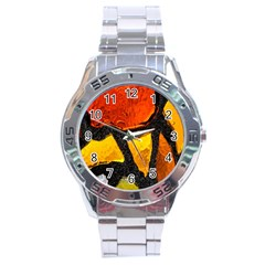 Colorful Glass Mosaic Art And Abstract Wall Background Stainless Steel Analogue Watch