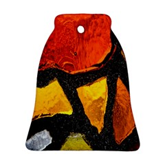 Colorful Glass Mosaic Art And Abstract Wall Background Bell Ornament (two Sides)