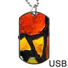 Colorful Glass Mosaic Art And Abstract Wall Background Dog Tag Usb Flash (one Side)