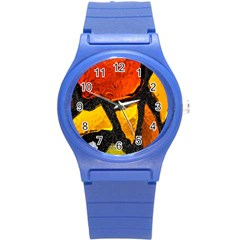 Colorful Glass Mosaic Art And Abstract Wall Background Round Plastic Sport Watch (S)