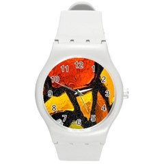 Colorful Glass Mosaic Art And Abstract Wall Background Round Plastic Sport Watch (m)