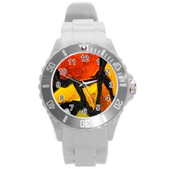 Colorful Glass Mosaic Art And Abstract Wall Background Round Plastic Sport Watch (L)