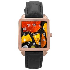Colorful Glass Mosaic Art And Abstract Wall Background Rose Gold Leather Watch