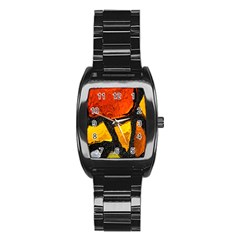 Colorful Glass Mosaic Art And Abstract Wall Background Stainless Steel Barrel Watch