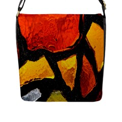 Colorful Glass Mosaic Art And Abstract Wall Background Flap Messenger Bag (l)