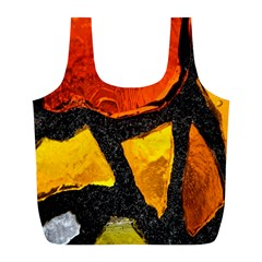 Colorful Glass Mosaic Art And Abstract Wall Background Full Print Recycle Bags (L)