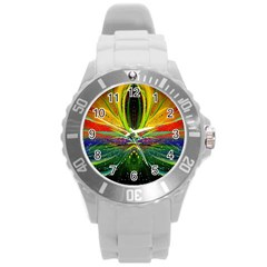 Future Abstract Desktop Wallpaper Round Plastic Sport Watch (l)