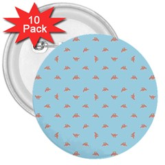 Spaceship Cartoon Pattern Drawing 3  Buttons (10 pack)