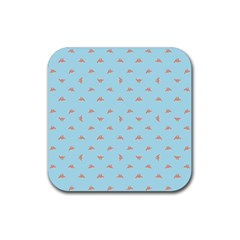 Spaceship Cartoon Pattern Drawing Rubber Coaster (Square)