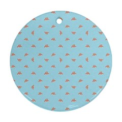 Spaceship Cartoon Pattern Drawing Round Ornament (Two Sides)