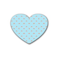 Spaceship Cartoon Pattern Drawing Rubber Coaster (Heart)